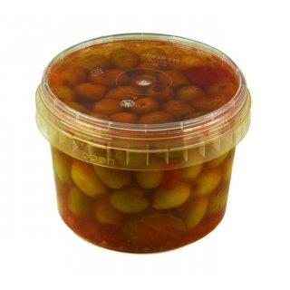Hymor Marokkanische Oliven 380g grüne Oliven entsteint pikant ohne Kern Marokko