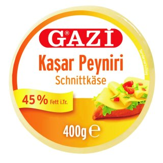 Gazi Kashkaval 5x 400g 45% Fett i.Tr. Schnittkäse Kasar Peynir aus 100% Kuhmilch