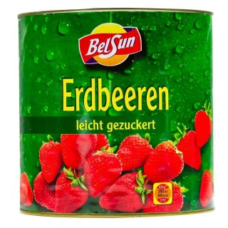 BelSun Erdbeeren 2x 925g leicht gezuckert eingelegte Erdbeeren Dose Obstkonserve