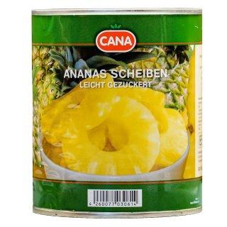 Cana Ananas in Scheiben 3x 490g leicht gezuckert eingelegte Ananas Obstkonserve